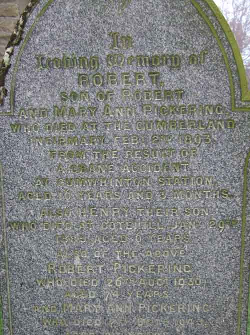 gravestone inscription for Robert Pickering
